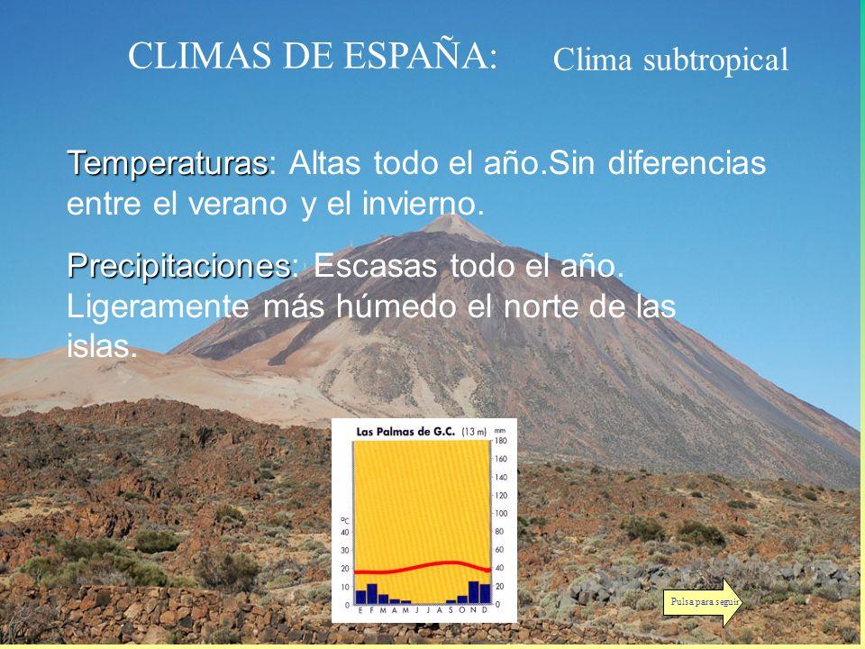 CLIMAS DE ESPAÑA: Clima subtropical Temperaturas Temperaturas: Altas todo el año.Sin diferencias entre el verano y el invierno. Precipitaciones Precip