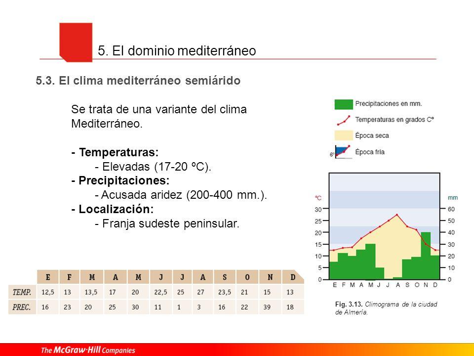 5. El dominio mediterráneo 5.3. El clima mediterráneo semiárido Se trata de una variante del clima Mediterráneo. - Temperaturas: - Elevadas (17-20 ºC)