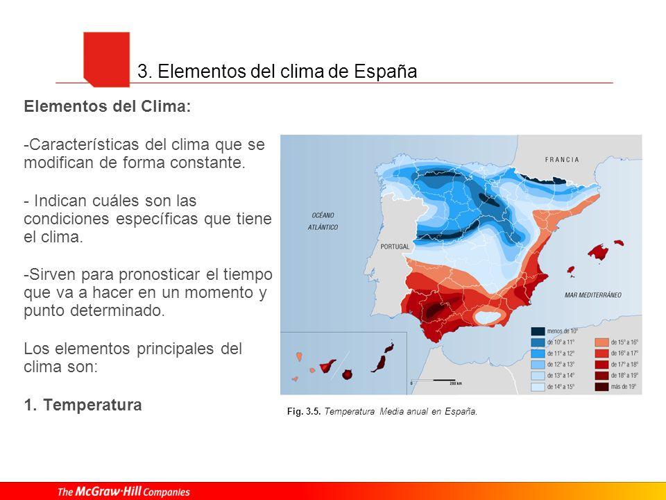 3. Elementos del clima de España Elementos del Clima: -Características del clima que se modifican de forma constante. - Indican cuáles son las condici