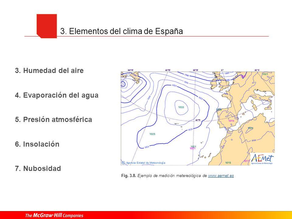 3. Elementos del clima de España 3. Humedad del aire 4. Evaporación del agua 5. Presión atmosférica 6. Insolación 7. Nubosidad Fig. 3.8. Ejemplo de me