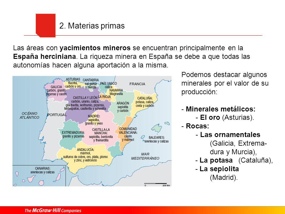 2. Materias primas Las áreas con yacimientos mineros se encuentran principalmente en la España herciniana. La riqueza minera en España se debe a que t