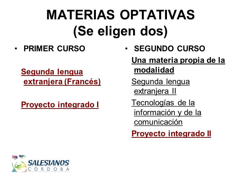 MATERIAS OPTATIVAS (Se eligen dos) PRIMER CURSO Segunda lengua extranjera (Francés) Proyecto integrado I SEGUNDO CURSO Una materia propia de la modalidad Segunda lengua extranjera II Tecnologías de la información y de la comunicación Proyecto integrado II