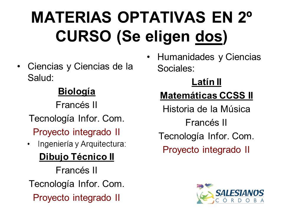 MATERIAS OPTATIVAS EN 2º CURSO (Se eligen dos) Ciencias y Ciencias de la Salud: Biología Francés II Tecnología Infor.