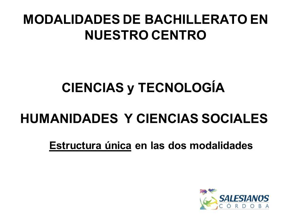 MODALIDADES DE BACHILLERATO EN NUESTRO CENTRO CIENCIAS y TECNOLOGÍA HUMANIDADES Y CIENCIAS SOCIALES Estructura única en las dos modalidades