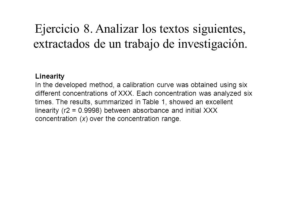 Ejercicio 8. Analizar los textos siguientes, extractados de un trabajo de investigación. Linearity In the developed method, a calibration curve was ob