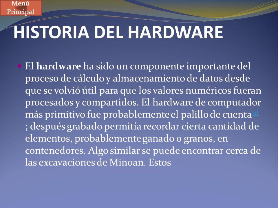 HISTORIA DEL HARDWARE El hardware ha sido un componente importante del proceso de cálculo y almacenamiento de datos desde que se volvió útil para que