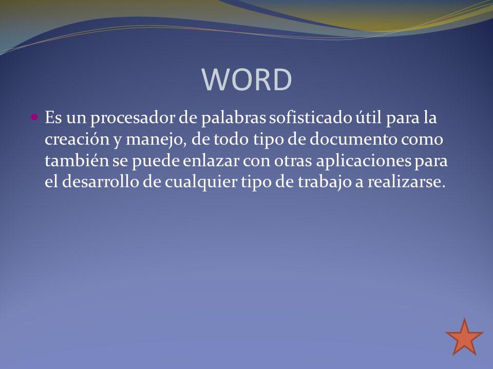 WORD Es un procesador de palabras sofisticado útil para la creación y manejo, de todo tipo de documento como también se puede enlazar con otras aplica