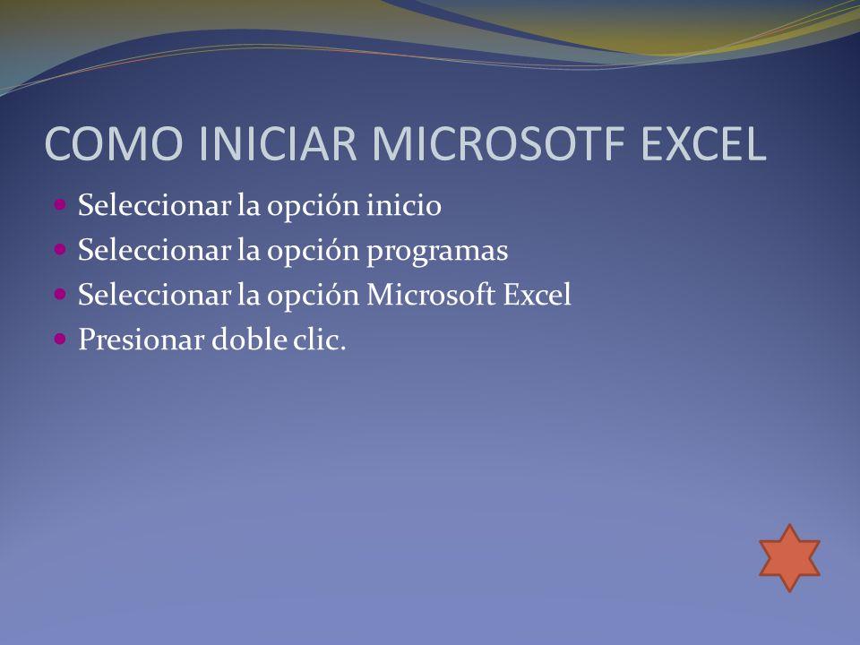 COMO INICIAR MICROSOTF EXCEL Seleccionar la opción inicio Seleccionar la opción programas Seleccionar la opción Microsoft Excel Presionar doble clic.