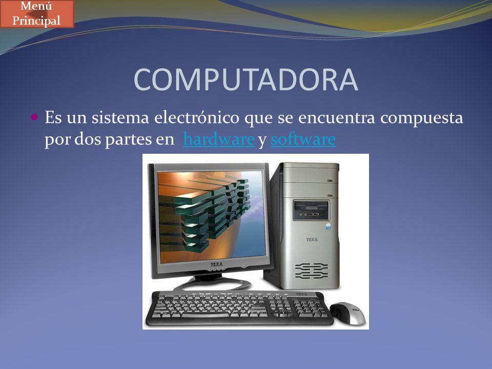 COMPUTADORA Es un sistema electrónico que se encuentra compuesta por dos partes en hardware y softwarehardwaresoftware Menú Principal