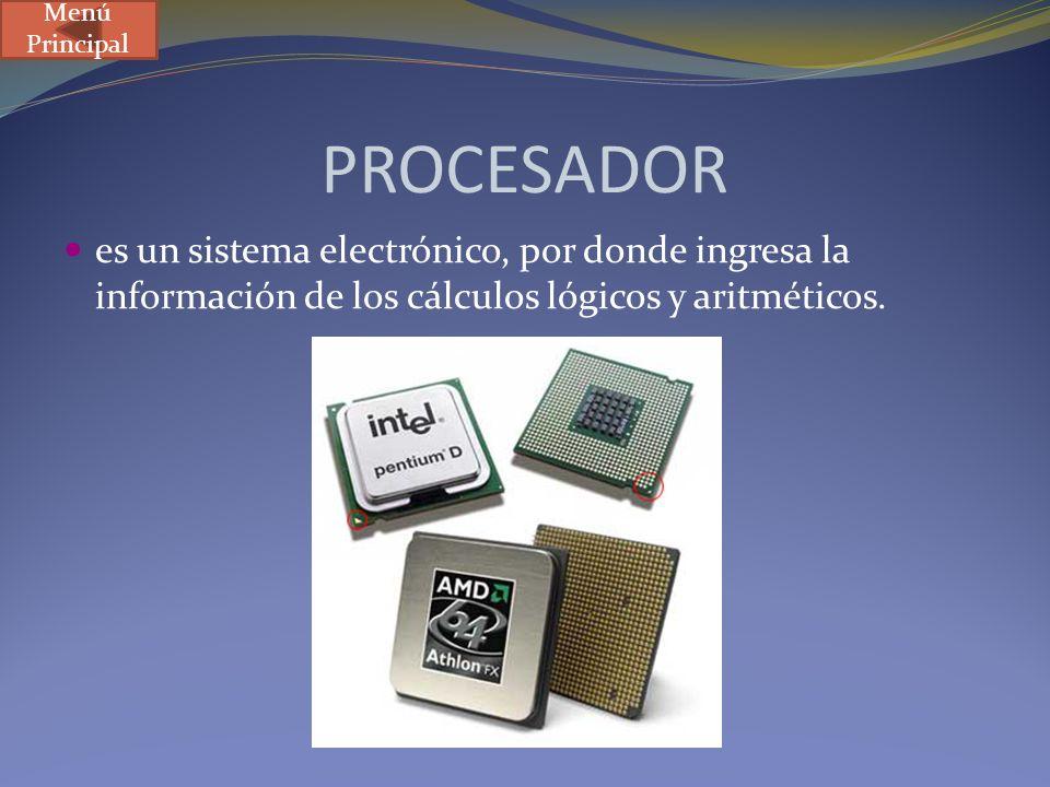 PROCESADOR es un sistema electrónico, por donde ingresa la información de los cálculos lógicos y aritméticos. Menú Principal