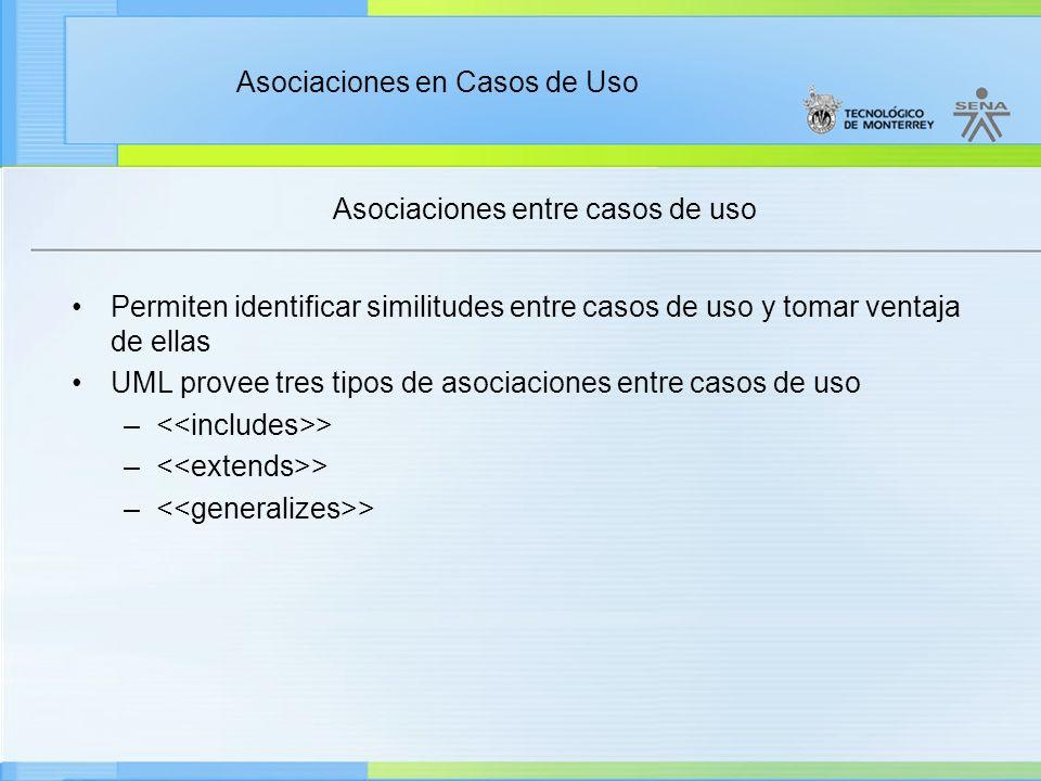 Asociaciones entre casos de uso Permiten identificar similitudes entre casos de uso y tomar ventaja de ellas UML provee tres tipos de asociaciones entre casos de uso – >
