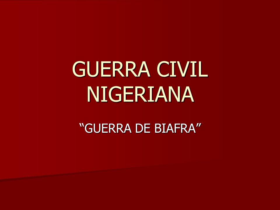 1962: comienzan las rivalidades 1962: comienzan las rivalidades 1963: Nigeria se convierte en una república 1963: Nigeria se convierte en una república 1966: golpes de Estado: 1966: golpes de Estado: 1º (15 de enero): 1º (15 de enero): ibos ibos causas (fraudes, corrupción, crisis y polarización politica) causas (fraudes, corrupción, crisis y polarización politica) nuevo gobierno: Ironsi (general ibo) nuevo gobierno: Ironsi (general ibo) 2º (29 de junio) 2º (29 de junio) hausas-fulani hausas-fulani gobierno: Gowon gobierno: Gowon