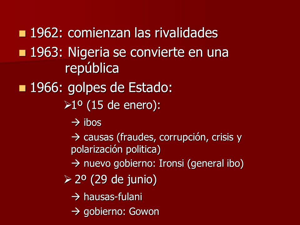 1962: comienzan las rivalidades 1962: comienzan las rivalidades 1963: Nigeria se convierte en una república 1963: Nigeria se convierte en una repúblic