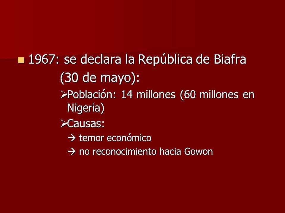 1967: se declara la República de Biafra 1967: se declara la República de Biafra (30 de mayo): Población: 14 millones (60 millones en Nigeria) Població