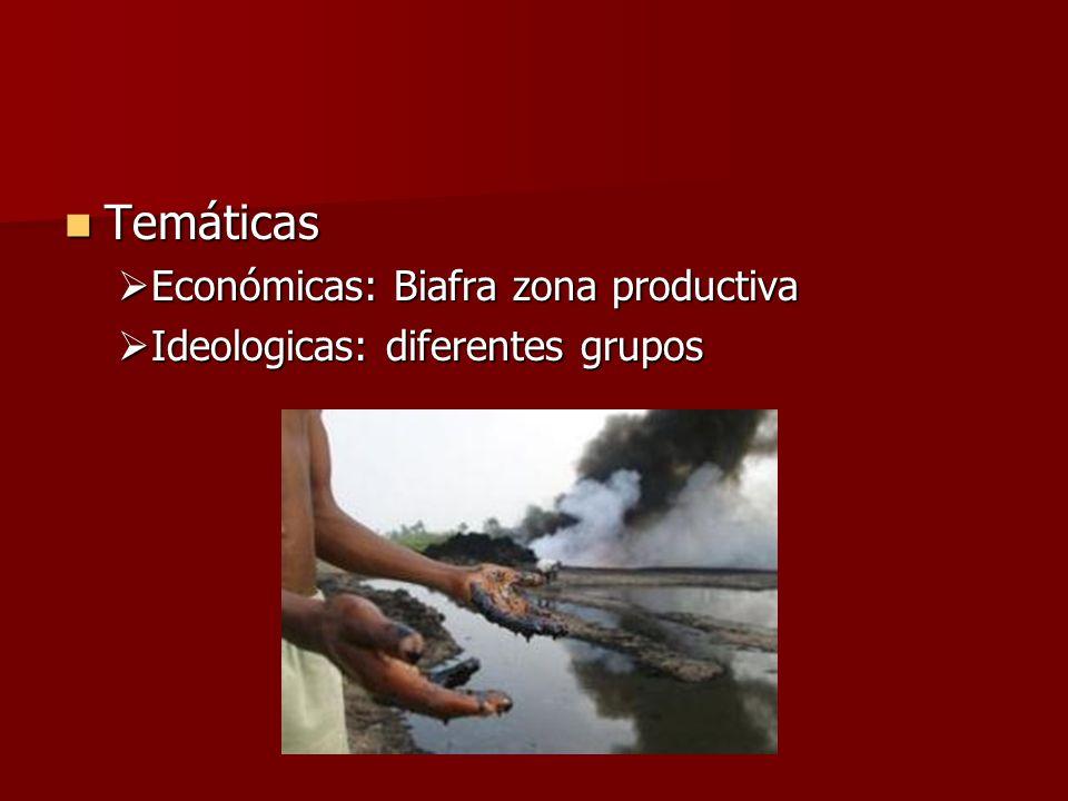 Temáticas Temáticas Económicas: Biafra zona productiva Económicas: Biafra zona productiva Ideologicas: diferentes grupos Ideologicas: diferentes grupo