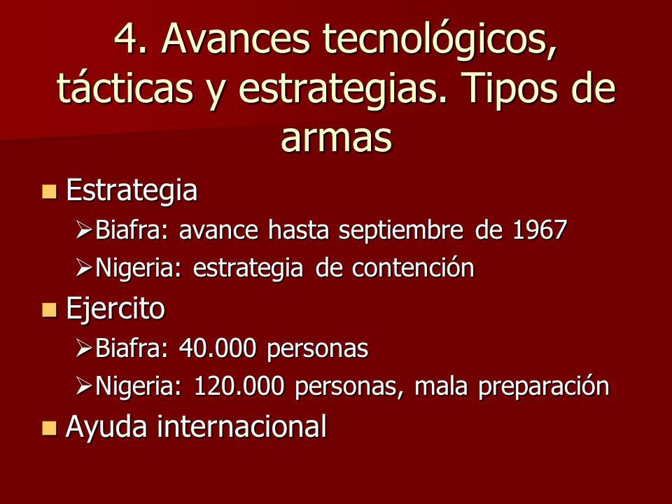 4. Avances tecnológicos, tácticas y estrategias. Tipos de armas Estrategia Estrategia Biafra: avance hasta septiembre de 1967 Biafra: avance hasta sep