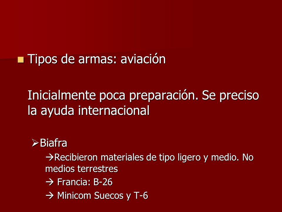 Tipos de armas: aviación Tipos de armas: aviación Inicialmente poca preparación. Se preciso la ayuda internacional Biafra Biafra Recibieron materiales