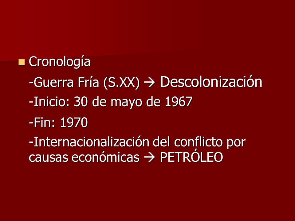 Cronología Cronología -Guerra Fría (S.XX) Descolonización -Inicio: 30 de mayo de 1967 -Fin: 1970 -Internacionalización del conflicto por causas económ