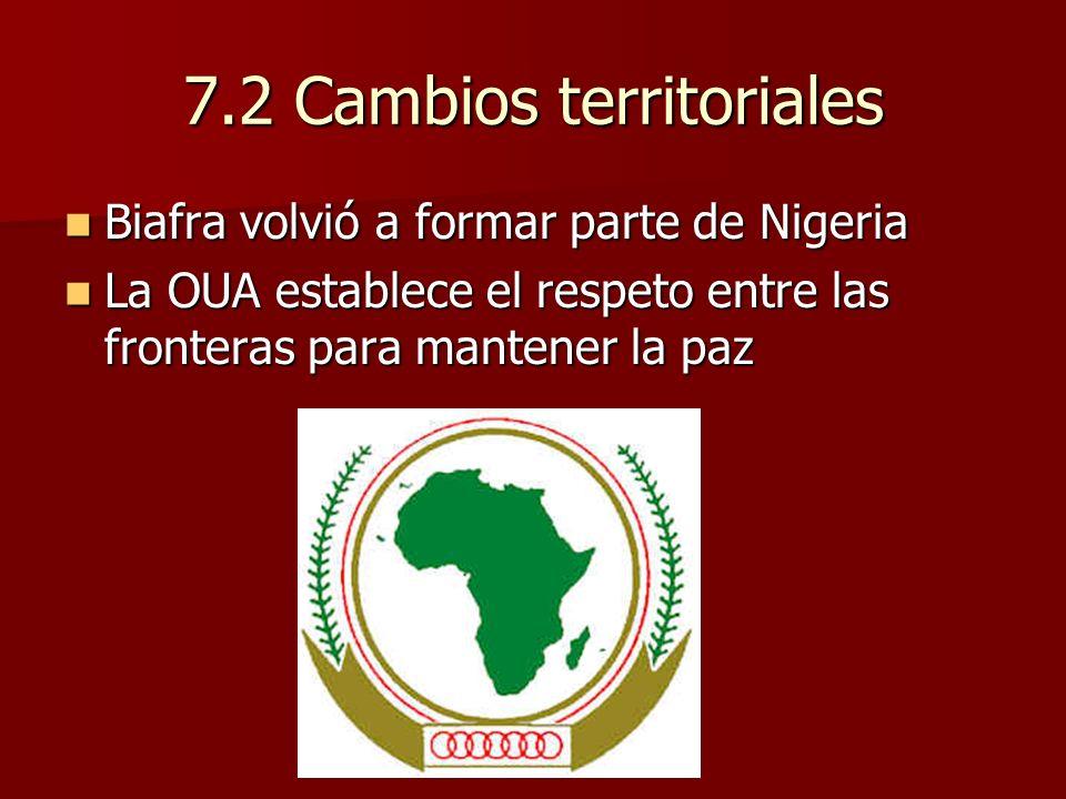7.2 Cambios territoriales Biafra volvió a formar parte de Nigeria Biafra volvió a formar parte de Nigeria La OUA establece el respeto entre las fronte