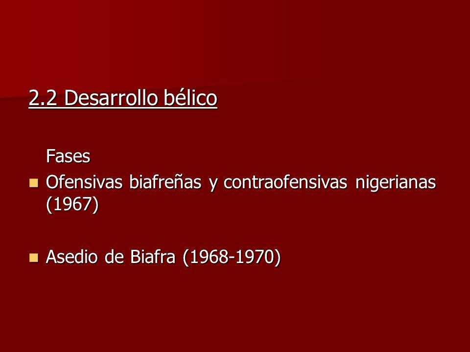2.2 Desarrollo bélico Fases Ofensivas biafreñas y contraofensivas nigerianas (1967) Ofensivas biafreñas y contraofensivas nigerianas (1967) Asedio de