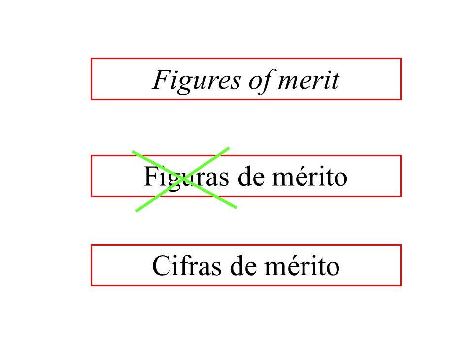 Figuras de mérito Cifras de mérito Figures of merit
