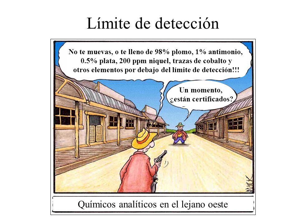 Límite de detección No te muevas, o te lleno de 98% plomo, 1% antimonio, 0.5% plata, 200 ppm niquel, trazas de cobalto y otros elementos por debajo del límite de detección!!.