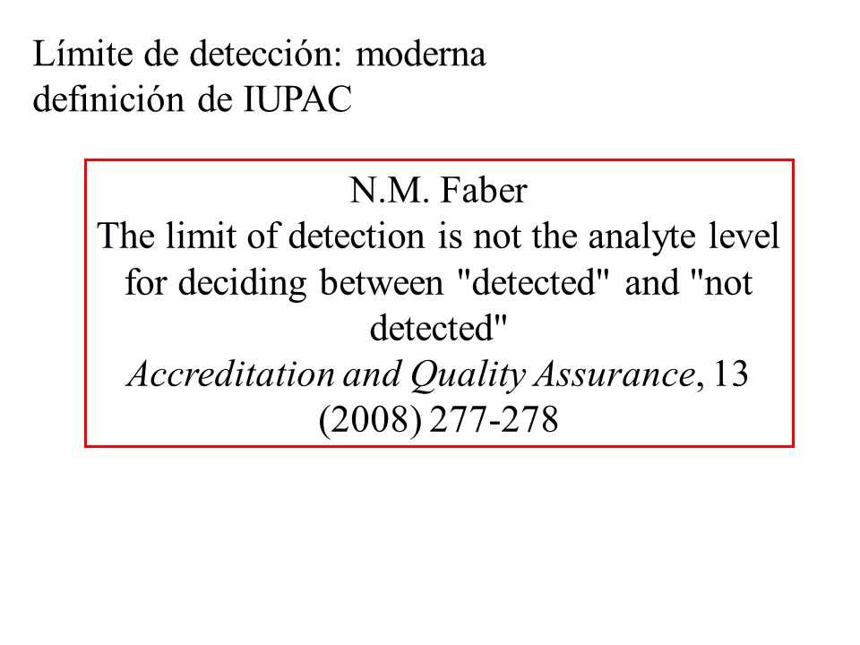 N.M. Faber The limit of detection is not the analyte level for deciding between