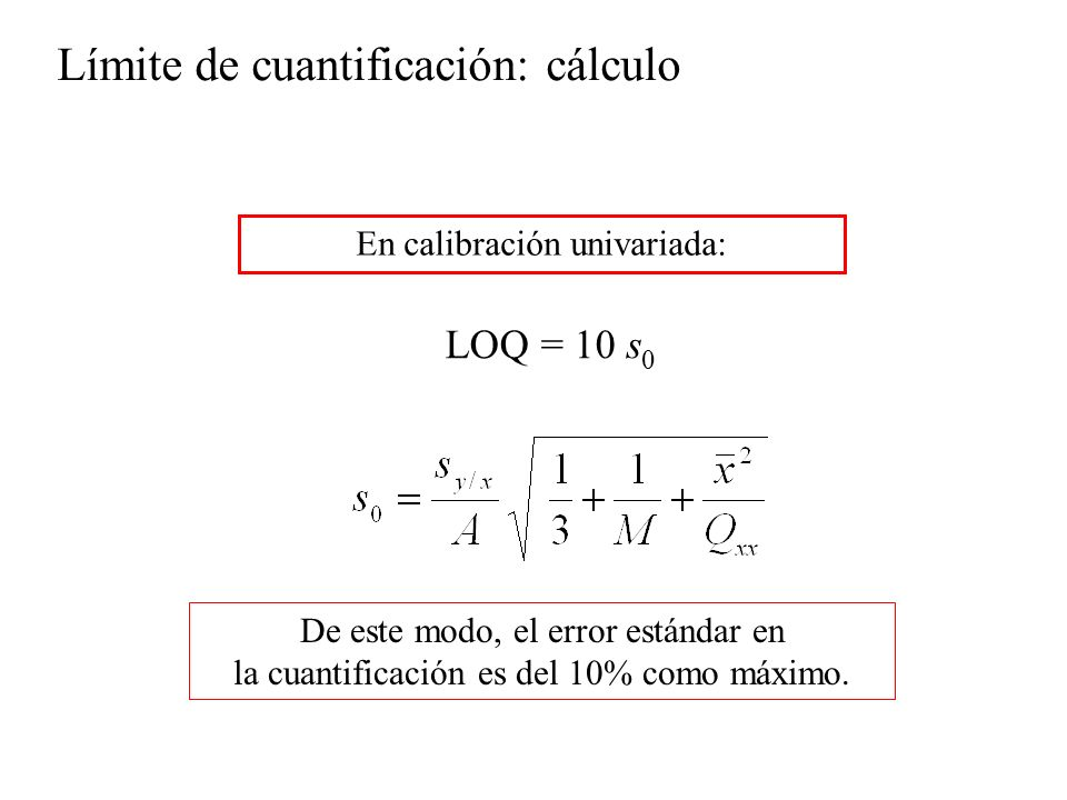LOQ = 10 s 0 De este modo, el error estándar en la cuantificación es del 10% como máximo.