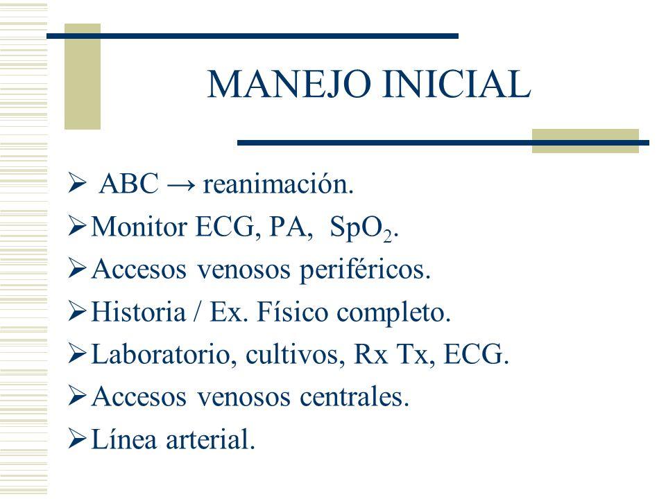 MANEJO INICIAL ABC reanimación. Monitor ECG, PA, SpO 2. Accesos venosos periféricos. Historia / Ex. Físico completo. Laboratorio, cultivos, Rx Tx, ECG