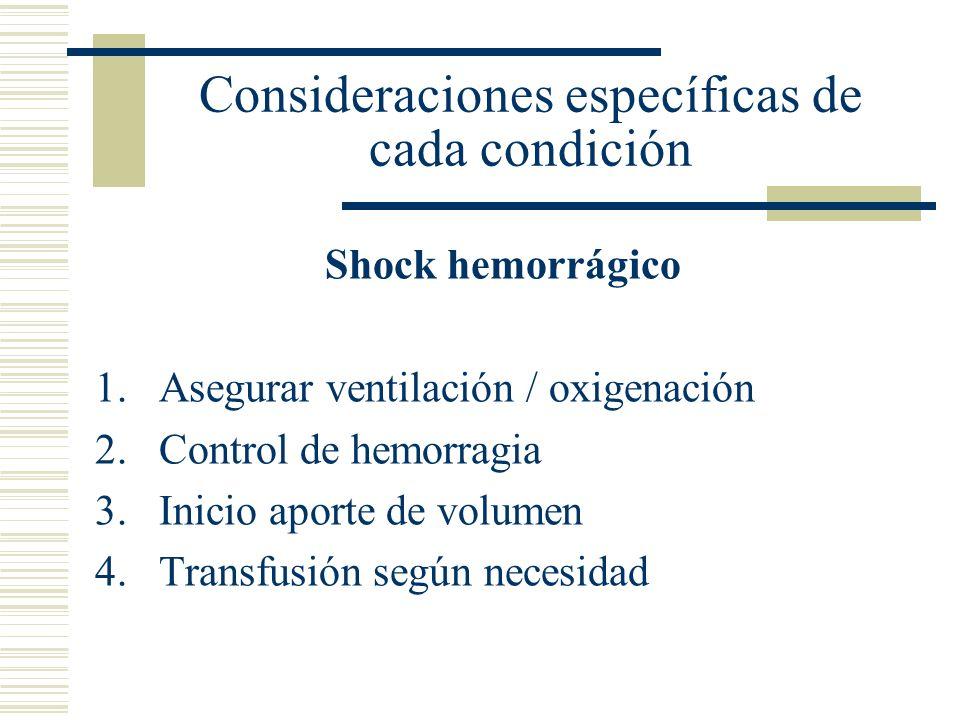 Consideraciones específicas de cada condición Shock hemorrágico 1.Asegurar ventilación / oxigenación 2.Control de hemorragia 3.Inicio aporte de volume