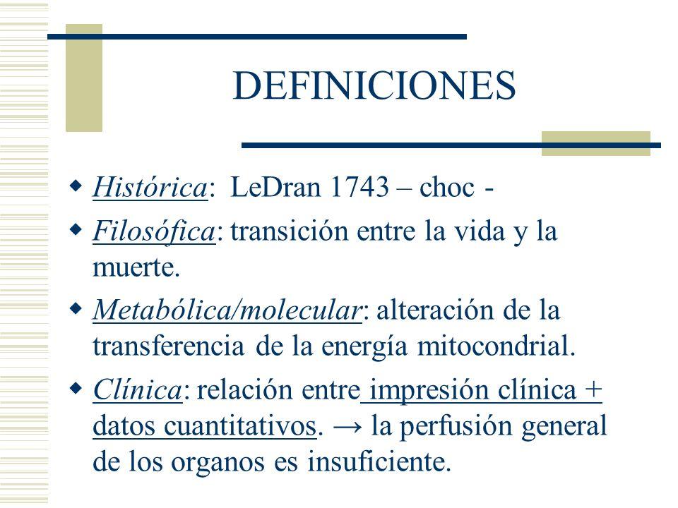 DEFINICIONES Histórica: LeDran 1743 – choc - Filosófica: transición entre la vida y la muerte. Metabólica/molecular: alteración de la transferencia de