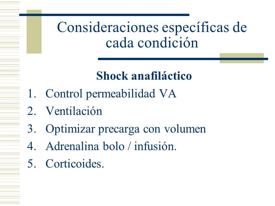 Consideraciones específicas de cada condición Shock anafiláctico 1.Control permeabilidad VA 2.Ventilación 3.Optimizar precarga con volumen 4.Adrenalin