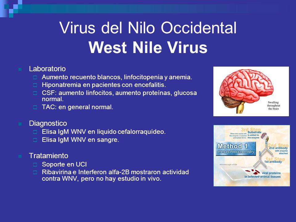 Virus del Nilo Occidental West Nile Virus Laboratorio Aumento recuento blancos, linfocitopenia y anemia. Hiponatremia en pacientes con encefalitis. CS
