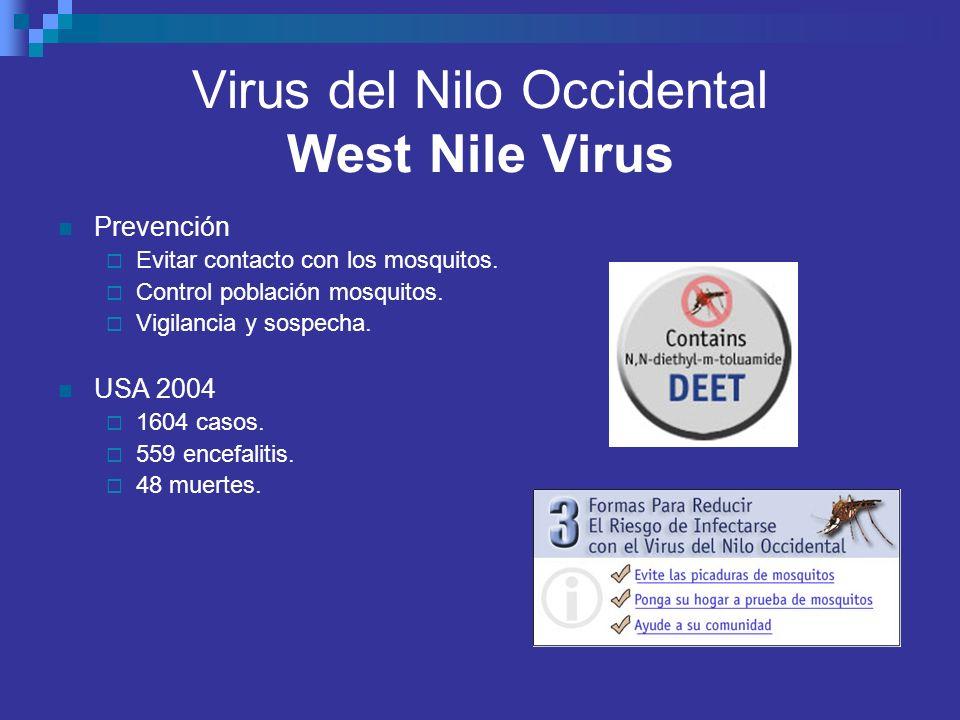 Virus del Nilo Occidental West Nile Virus Prevención Evitar contacto con los mosquitos. Control población mosquitos. Vigilancia y sospecha. USA 2004 1