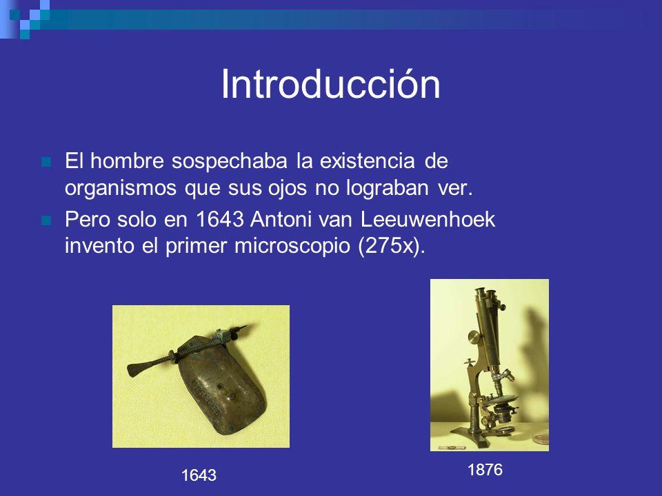 Introducción El hombre sospechaba la existencia de organismos que sus ojos no lograban ver. Pero solo en 1643 Antoni van Leeuwenhoek invento el primer