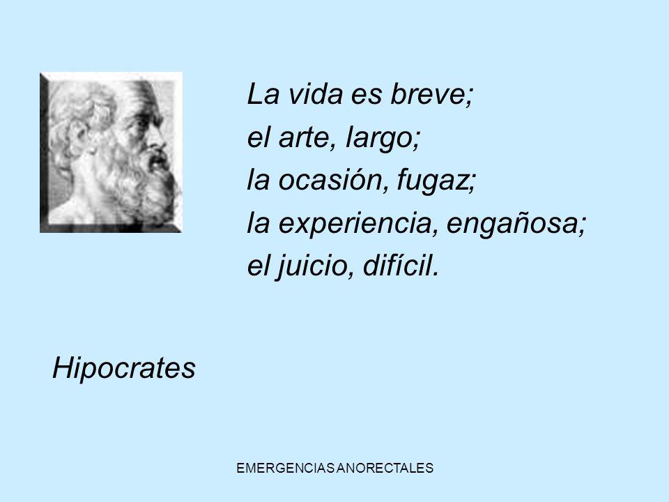 EMERGENCIAS ANORECTALES La vida es breve; el arte, largo; la ocasión, fugaz; la experiencia, engañosa; el juicio, difícil. Hipocrates