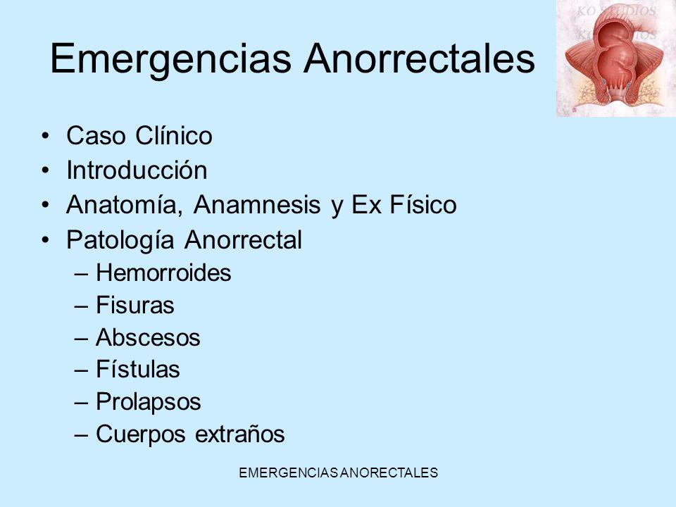 EMERGENCIAS ANORECTALES Fisura Anal Aguda Se ubican en la línea media, que es el punto estructural más débil (90% posteriores, 10% anteriores) Fisuras laterales –Crohn, tuberculosis, cáncer, sífilis, prurito anal crónico, linfogranuloma venéreo, SIDA, etc.