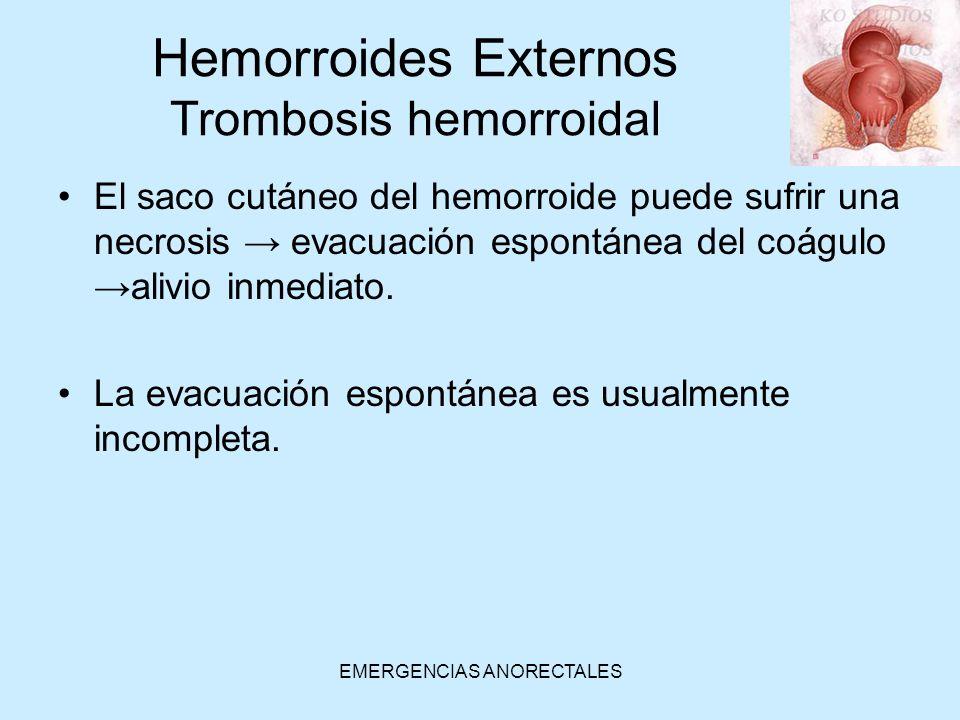 EMERGENCIAS ANORECTALES El saco cutáneo del hemorroide puede sufrir una necrosis evacuación espontánea del coáguloalivio inmediato. La evacuación espo