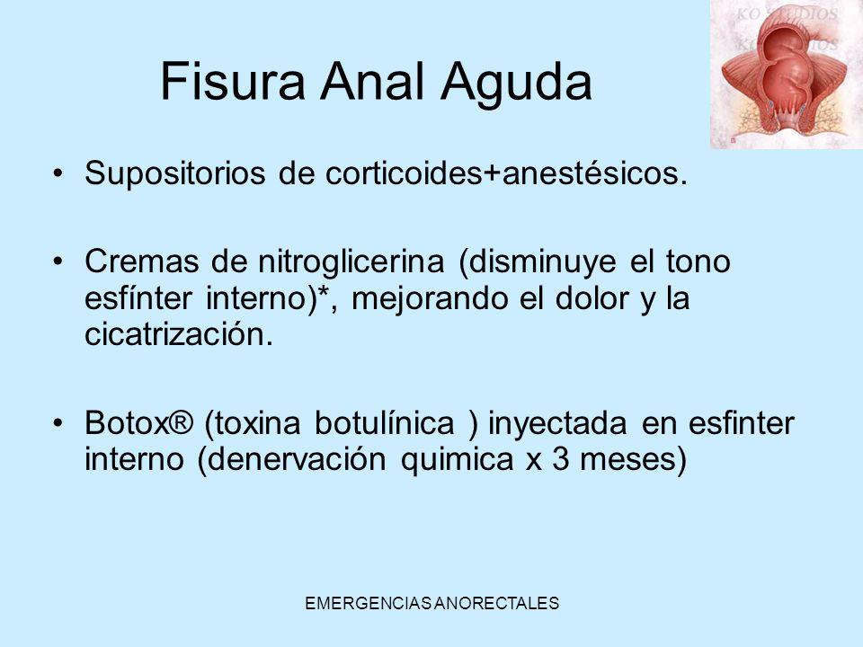 EMERGENCIAS ANORECTALES Fisura Anal Aguda Supositorios de corticoides+anestésicos. Cremas de nitroglicerina (disminuye el tono esfínter interno)*, mej