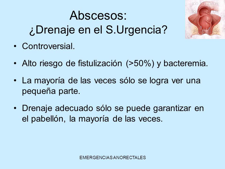 EMERGENCIAS ANORECTALES Abscesos: ¿Drenaje en el S.Urgencia? Controversial. Alto riesgo de fistulización (>50%) y bacteremia. La mayoría de las veces