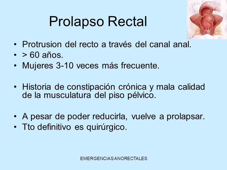 EMERGENCIAS ANORECTALES Prolapso Rectal Protrusion del recto a través del canal anal. > 60 años. Mujeres 3-10 veces más frecuente. Historia de constip