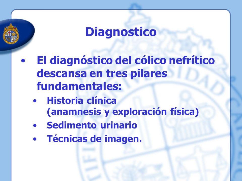 Diagnostico El diagnóstico del cólico nefrítico descansa en tres pilares fundamentales: Historia clínica (anamnesis y exploración física) Sedimento ur