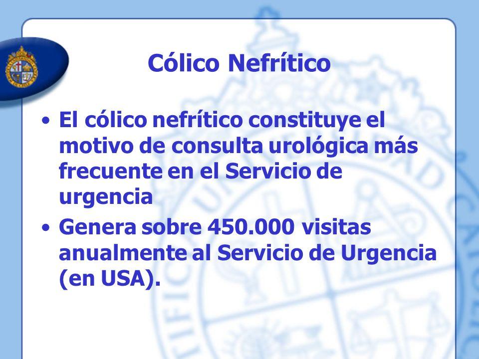 Cólico Nefrítico El cólico nefrítico constituye el motivo de consulta urológica más frecuente en el Servicio de urgencia Genera sobre 450.000 visitas
