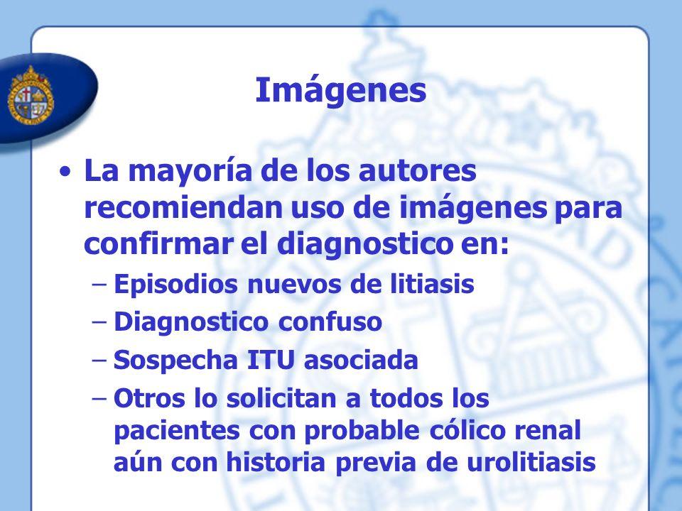 Imágenes La mayoría de los autores recomiendan uso de imágenes para confirmar el diagnostico en: –Episodios nuevos de litiasis –Diagnostico confuso –S