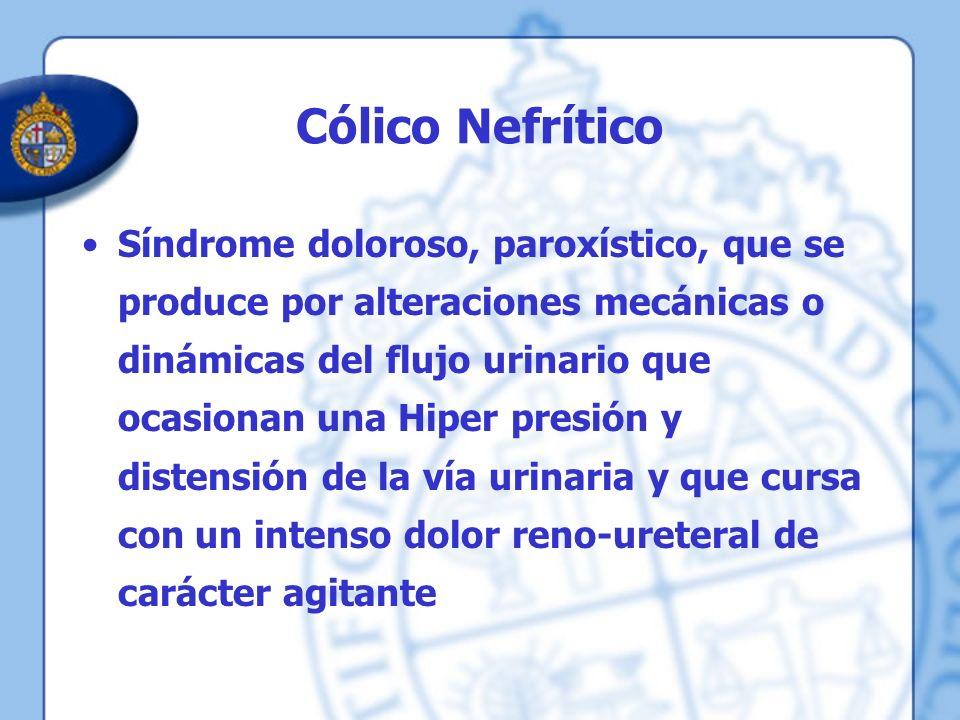 Cólico Nefrítico Síndrome doloroso, paroxístico, que se produce por alteraciones mecánicas o dinámicas del flujo urinario que ocasionan una Hiper pres