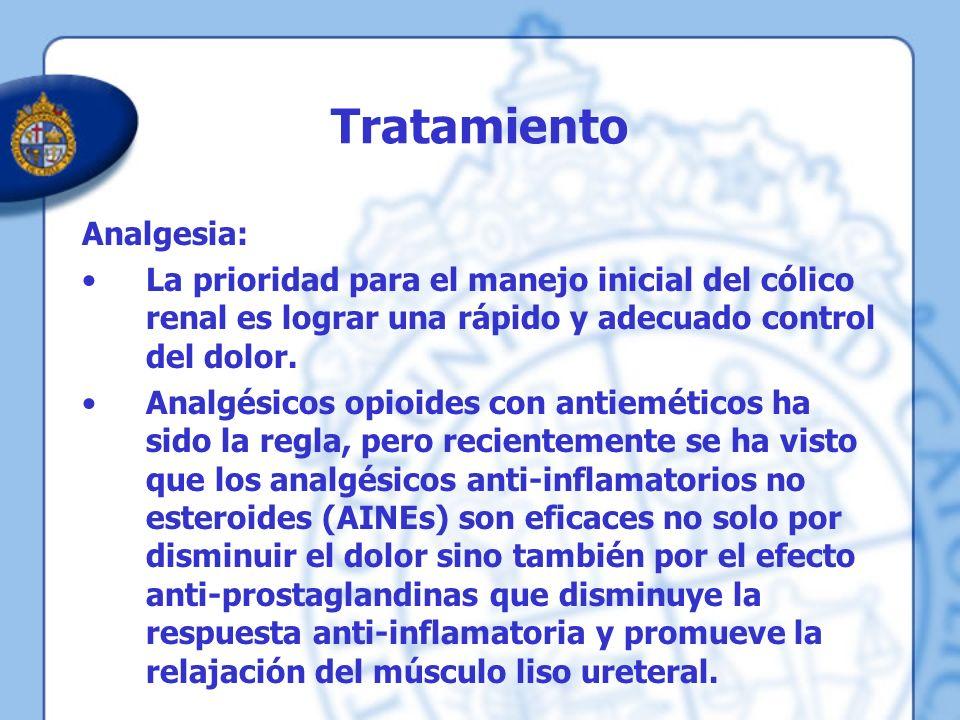 Tratamiento Analgesia: La prioridad para el manejo inicial del cólico renal es lograr una rápido y adecuado control del dolor. Analgésicos opioides co