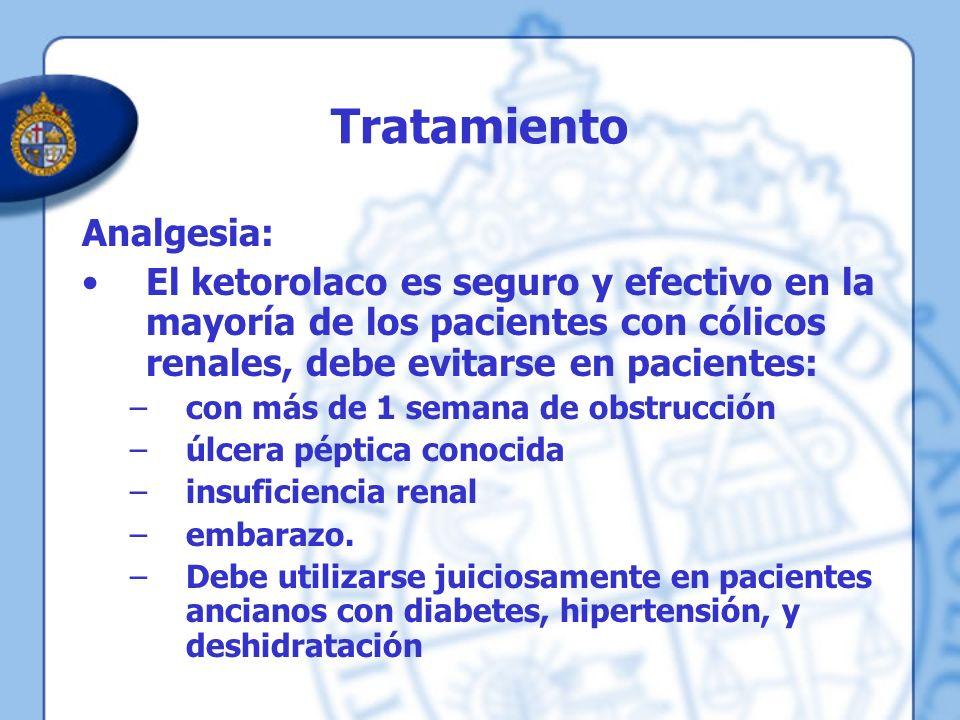 Tratamiento Analgesia: El ketorolaco es seguro y efectivo en la mayoría de los pacientes con cólicos renales, debe evitarse en pacientes: –con más de