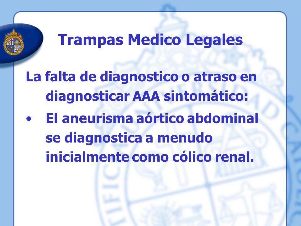 Trampas Medico Legales La falta de diagnostico o atraso en diagnosticar AAA sintomático: El aneurisma aórtico abdominal se diagnostica a menudo inicia