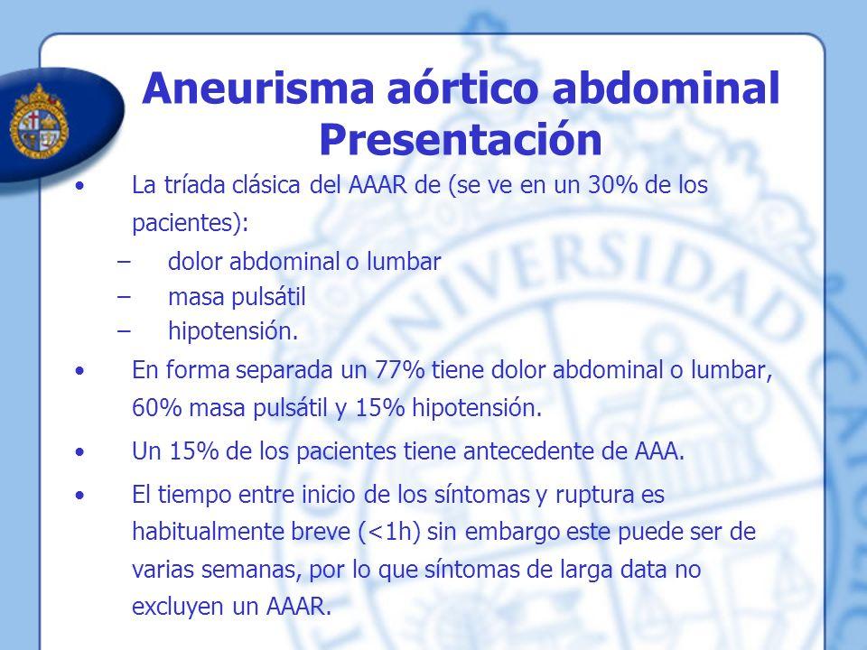 Aneurisma aórtico abdominal Presentación La tríada clásica del AAAR de (se ve en un 30% de los pacientes): –dolor abdominal o lumbar –masa pulsátil –h