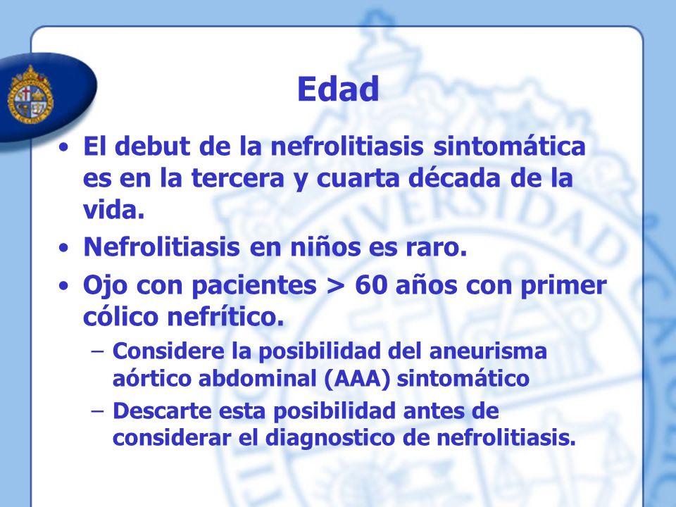 Edad El debut de la nefrolitiasis sintomática es en la tercera y cuarta década de la vida. Nefrolitiasis en niños es raro. Ojo con pacientes > 60 años